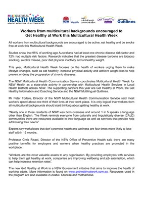 Joint Release - Multicultural Health Week 2014
