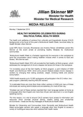 Press Release Multicultural Health Week 2014 - Health Minister Jillian Skinner